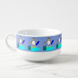 Tasse de soupe à pingouin de pêche de Joyeux Noël Mug À Potage