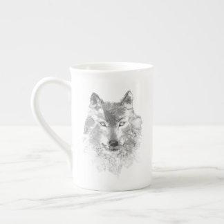 Tasse de thé de loup gris d'aquarelle