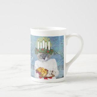 Tasse de thé de Père Noël Lucia des chatons