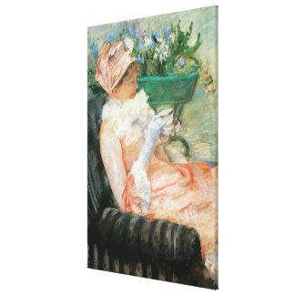 Tasse de thé par Cassatt art vintage Toiles Tendues Sur Châssis