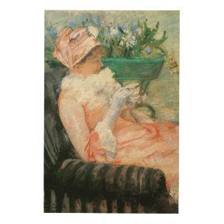 Tasse de thé par Cassatt art vintage Impression Sur Bois