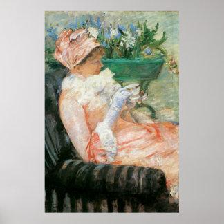 Tasse de thé par Mary Cassatt, impressionisme Poster