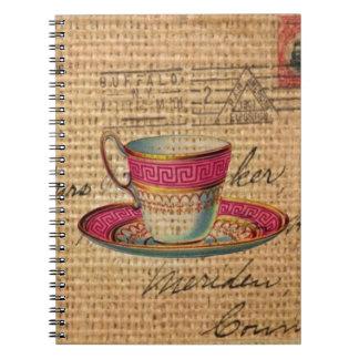 Tasse de thé rustique de victorian de rose de thé carnet