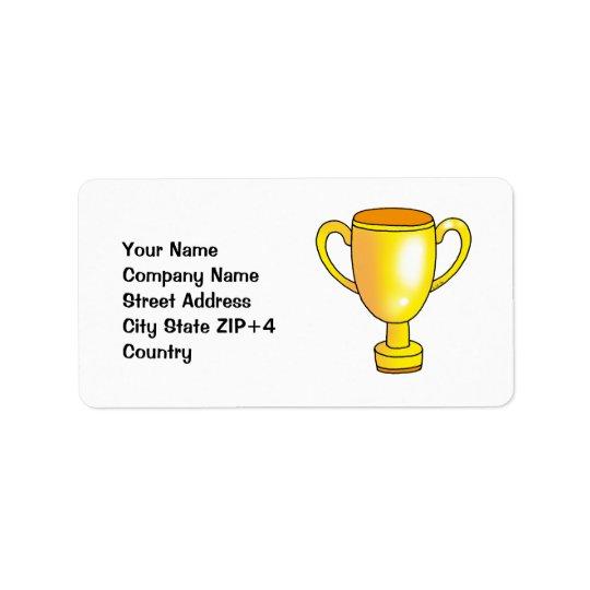 tasse de trophée de champion d'or étiquettes d'adresse