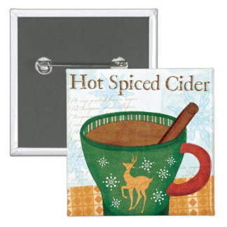 Tasse de vacances avec le cidre épicé chaud badges