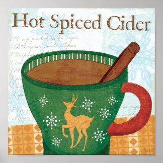 Tasse de vacances avec le cidre épicé chaud posters