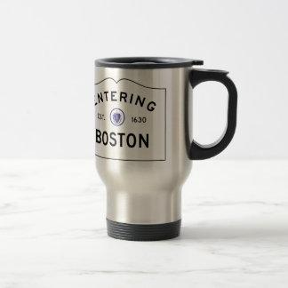 Tasse de voyage de panneau routier de Boston le