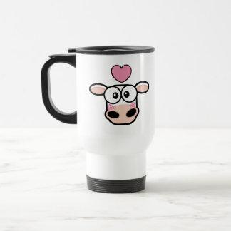 Tasse de voyage de vache frappée par amour