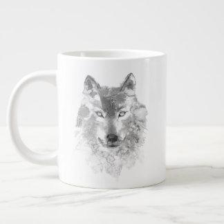 Tasse d'éléphant de loup gris d'aquarelle
