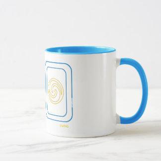Tasse d'équilibre et d'oscillation en bleu et or