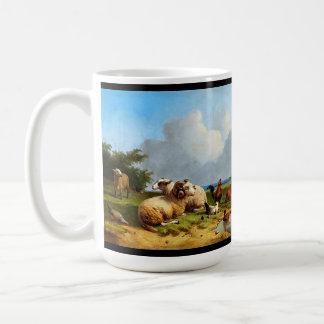 Tasse d'étang de pré d'animaux de moutons
