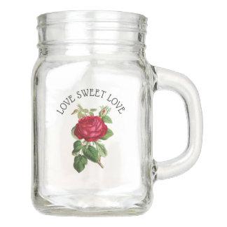 Tasse douce de pot de maçon de roses de Bourgogne