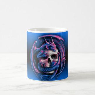 Tasse dragon, tête de mort rose et bleu