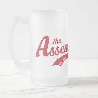 Tasse en verre givré avec le logo des textes
