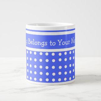 Tasse enorme personnalisable bleue/blanche de poin mug jumbo
