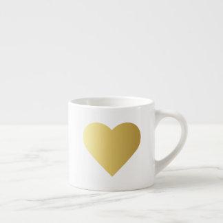 Tasse Expresso Coeur élégant d'or de Faux