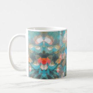 Tasse florale bleue de monoprint