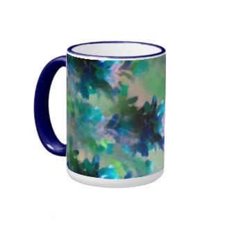Tasse florale bleue de sonnerie