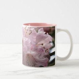 Tasse florale d'azalées roses de rhododendrons