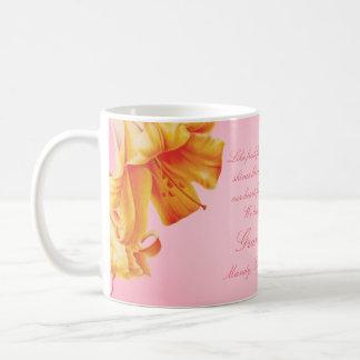 Tasse florale de cadeau de beaux-arts de lis de