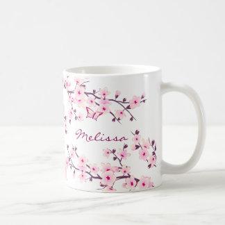 Tasse florale de monogramme de fleurs de cerisier
