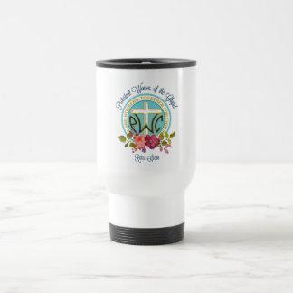 Tasse florale de voyage de logo de PWOC