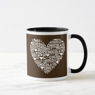 Tasse foncée d'amour de cacao de chocolat chaud