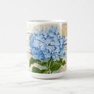 Tasse française d'éphémères d'hortensia bleu vinta