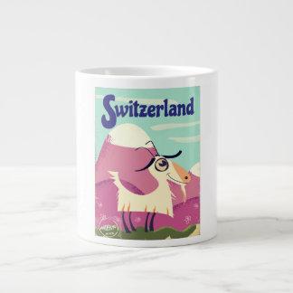 Tasse Géante Affiche vintage de voyage de style de la Suisse