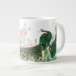 Tasse Géante La pivoine asiatique d'oiseaux de paon fleurit la