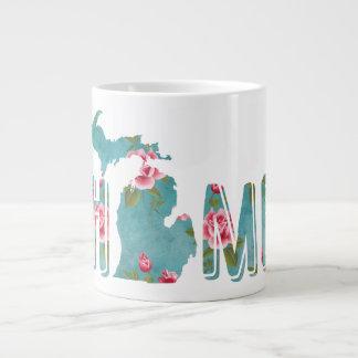 Tasse Géante Le Michigan est les roses et l'Aqua vintages |