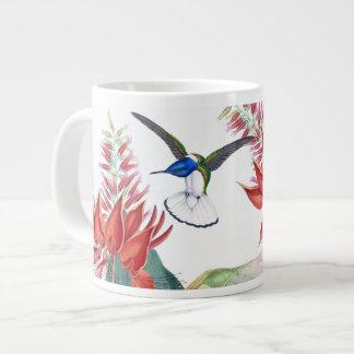 Tasse Géante Le rouge bleu d'oiseaux de colibri fleurit la