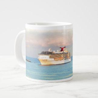Tasse Géante Lever de soleil en pastel avec le bateau de