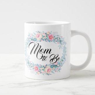 Tasse Géante Maman à être guirlande de fleur de typographie