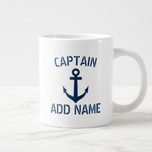 Tasse Géante Nom du capitaine de bateau et ancre la grande tass