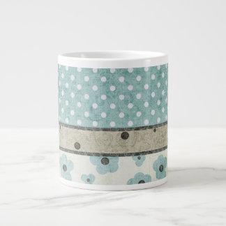 Tasse Géante Teal et point beige floral et de polka