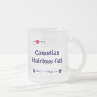 Tasse Givré J'aime mon chat chauve canadien (le chat femelle)