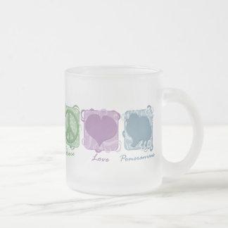 Tasse Givré Paix, amour, et Pomeranians en pastel