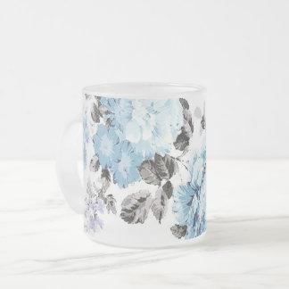 Tasse givrée florale d'aquarelle bleue vintage