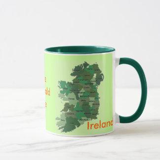 Tasse irlandaise de l'Irlande de carte des comtés