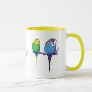 Tasse jaune de perroquet d'oiseau de perruche
