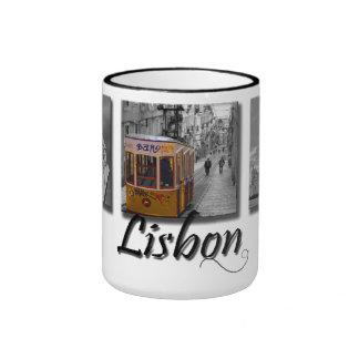 Tasse jaune de tram de Lisbonne