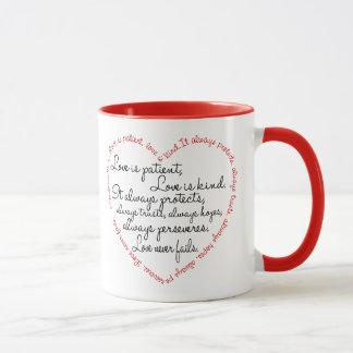 Tasse - l'amour est coeur patient de mot