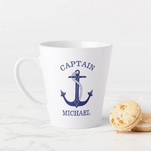 Tasse Latte Ancre bleue de la marine nautique Capitaine Ajoute