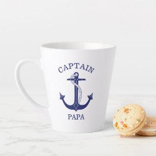 Tasse Latte Ancre bleue de la marine nautique Capitaine Papa