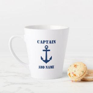 Tasse Latte Ancre classique de la marine Capitaine Bateau ou n