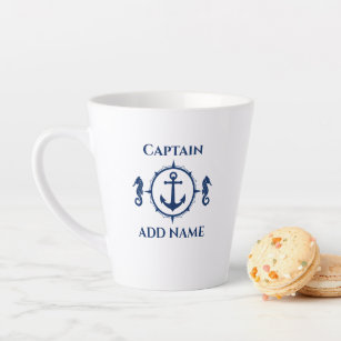 Tasse Latte Navy Blue Seahorse & Ancre Nom ou bateau 2 Côté