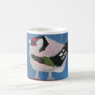 Tasse mignonne abstraite d'oiseau de chardonneret