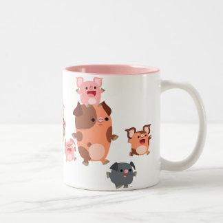 Tasse mignonne de famille de porc de bande dessiné