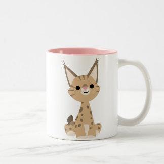 Tasse mignonne de Lynx de bande dessinée